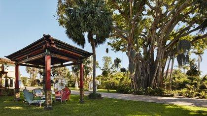 """El imponente jardín de la casa de Faena en Miami Beach, la famosa """"Villa Crono"""" que la compró en el 2014 y según contó desembolsó muchos millones de dólares para poder ambientarla a su estilo  (Photos by Benjamin Lozovsky and David Prutting for BFA)"""