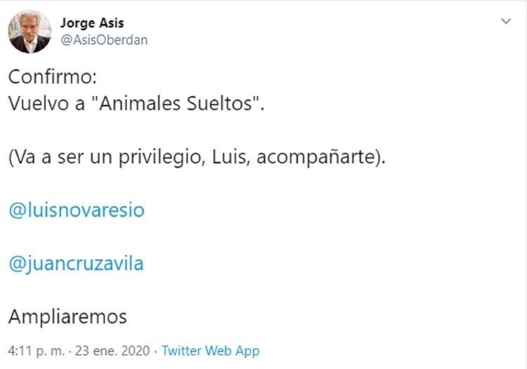El tuit de Jorge Asis