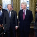 Mandatory Credit: Photo by Ron Sachs/Shutterstock (836188g) United States President George W. Bush, center welcomes former United States President George H.W. Bush, left; United States President-elect Barack Obama, left center; former United States President Bill Clinton, right center; and former United States President Jimmy Carter, right; to the Oval Office of the White House. Five US Presidents meet in the Oval Office of the White House, Washington DC, America - 07 Jan 2009 This was the first time all of the living past, present and future Presidents were at the White House together since 1981.