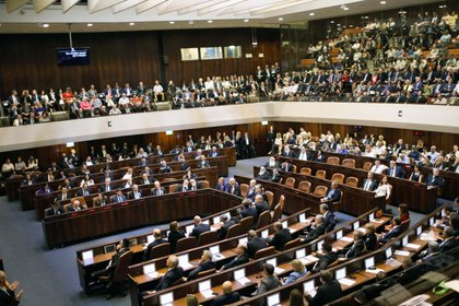 03/10/2019 FILED - 03 October 2019, Israel, Jerusalem: A general view of the first session of the 22nd Israeli parliament (Knesset). Photo: Ilia Yefimovich/dpa