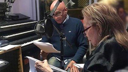 """Pinky estuvo grabando textos, junto a Guillermo Gil, para la obra """"Ellas en mí"""", que se estrena el próximo sábado"""