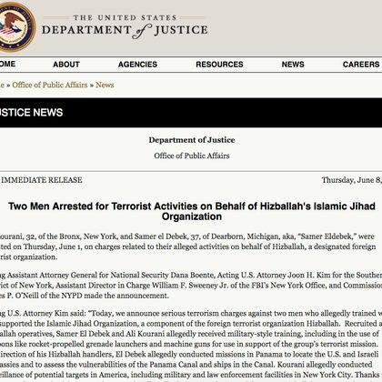 El anuncio oficial del arresto de Kourani y otro acusado de ser agente de Hezbolá, Samer Eldebek, en el sitio de internet del Departamento de Justicia de Estados Unidos