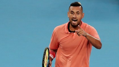 Tennis - Australian Open - Fourth Round - Melbourne Park, Melbourne, Australia - January 27, 2020. Australia's Nick Kyrgios reacts during his match against Spain's Rafael Nadal. REUTERS/Hannah Mckay