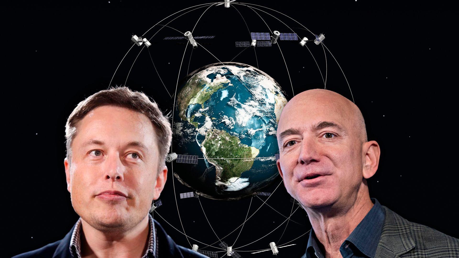 Elon Musk Jeff Bezos Satélites