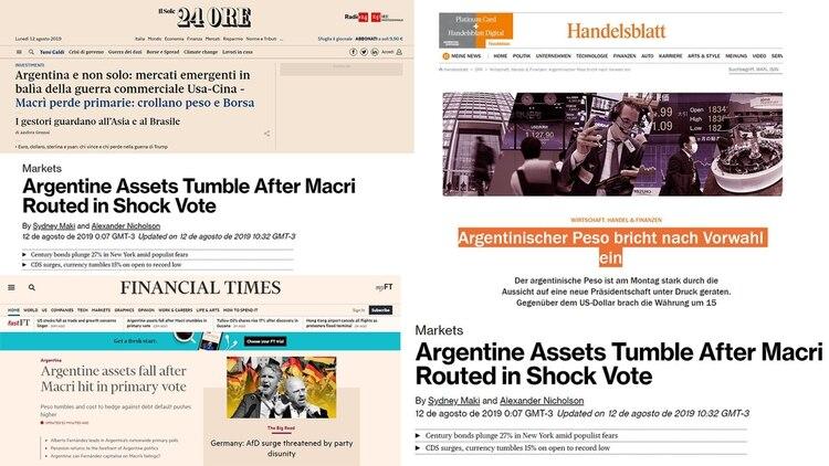 Los periódicos financieros notaron el colapso argentino