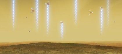 Esta ilustración artística muestra la superficie y la atmósfera de Venus, así como moléculas de fosfina. Estas moléculas flotan en las nubes de Venus arrastradas por el viento a altitudes de 55 a 80 km, absorbiendo algunas de las ondas milimétricas que se producen en altitudes más bajas. Fueron detectadas en las nubes altas de Venus en datos del Telescopio James Clerk Maxwell y el Gran telescopio Milímetro/Submilímetro en el desierto de Atacama, en el que ESO es socio. (ESO / M. Kornmesser / L. Calcada vía REUTERS)