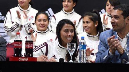 """Mercedes Pereyra: """"Estoy muy emocionada, son muchos años acá en el Club. A las más chicas les quiero decir que esto recién empieza y que ahora viene lo mejor"""" (Foto: @RiverPlate)"""