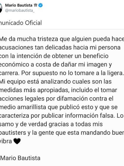 El comunicado de Mario Bautista