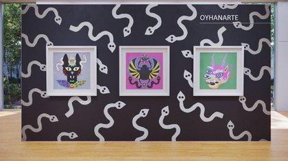 Francisca Oyhanarte, radicada en Miami, que realiza pequeños collages en papel que luego digitaliza y expande