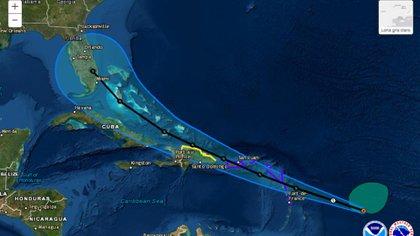 Así es el pronóstico de la trayectoria de la tormenta tropical Isaias. (Foto: Twitter@NWSNHC)