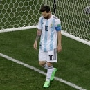 Argentina's Lionel Messi reacts during the group D match between Argentina and Croatia at the 2018 soccer World Cup in the Nizhny Novgorod stadium in Nizhny Novgorod, Russia, Thursday, June 21, 2018. (AP Photo/Michael Sohn)