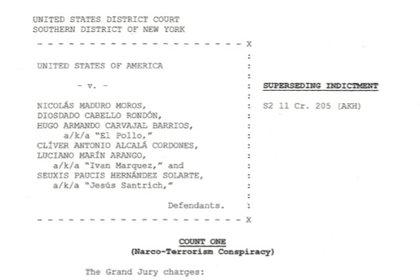 Documento de imputación de cargos a Iván Márquez y Jesús Santrich. Captura: Department of Justice, recopilado por Infobae