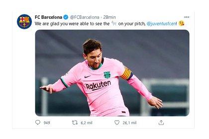 El tuit del Barcelona a la Juventus