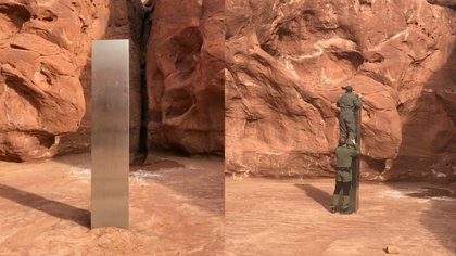 Se desconoce la procedencia de este monolito encontrado en la mitad del desierto.
