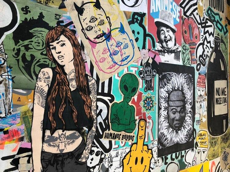 'Street art': uno de los tantos murales que pueden encontrarse en el Mercado de Pulgas