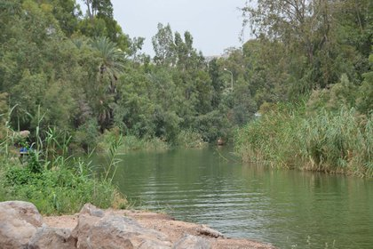 El río Jordan cerca de la desembocadura en el Mar de Galilea