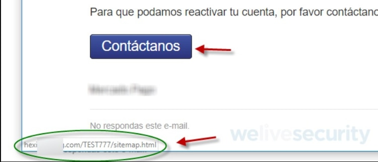 El link al que redirige la página también es sospechoso, tal como se puede ver (We Live Security).