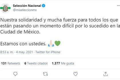 La Selección Nacional mostró su solidaridad ante la tragedia del Metro en la CDMX (Foto: Captura de pantalla Twitter / @miseleccionmx)