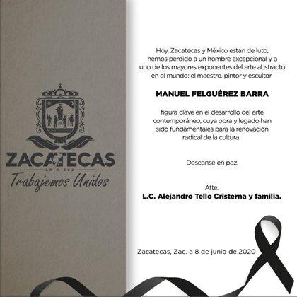 El mensaje del gobernador de Zacatecas, de donde era originario Felguérez