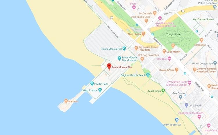 Las autoridades han prohibido el ingreso de bañistas a esta área del océano por su proximidad con el muelle de de Main Street y su peligrosidad. (Foto: Google Maps)