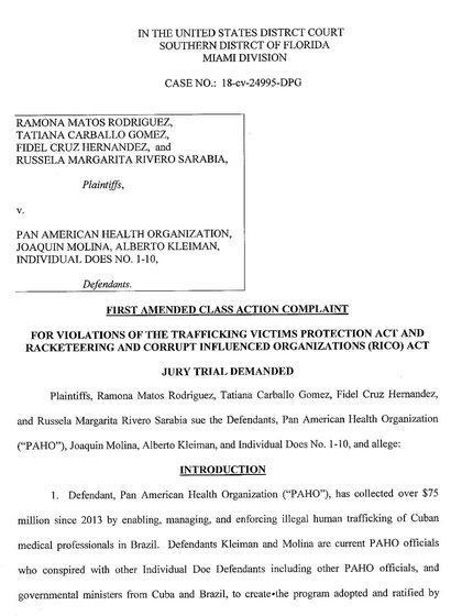 La carátula de la demanda presentada en Florida, Estados Unidos, por parte de cuatro médicos cubanos que fueron parte del programa Mais Médicos en Brasil