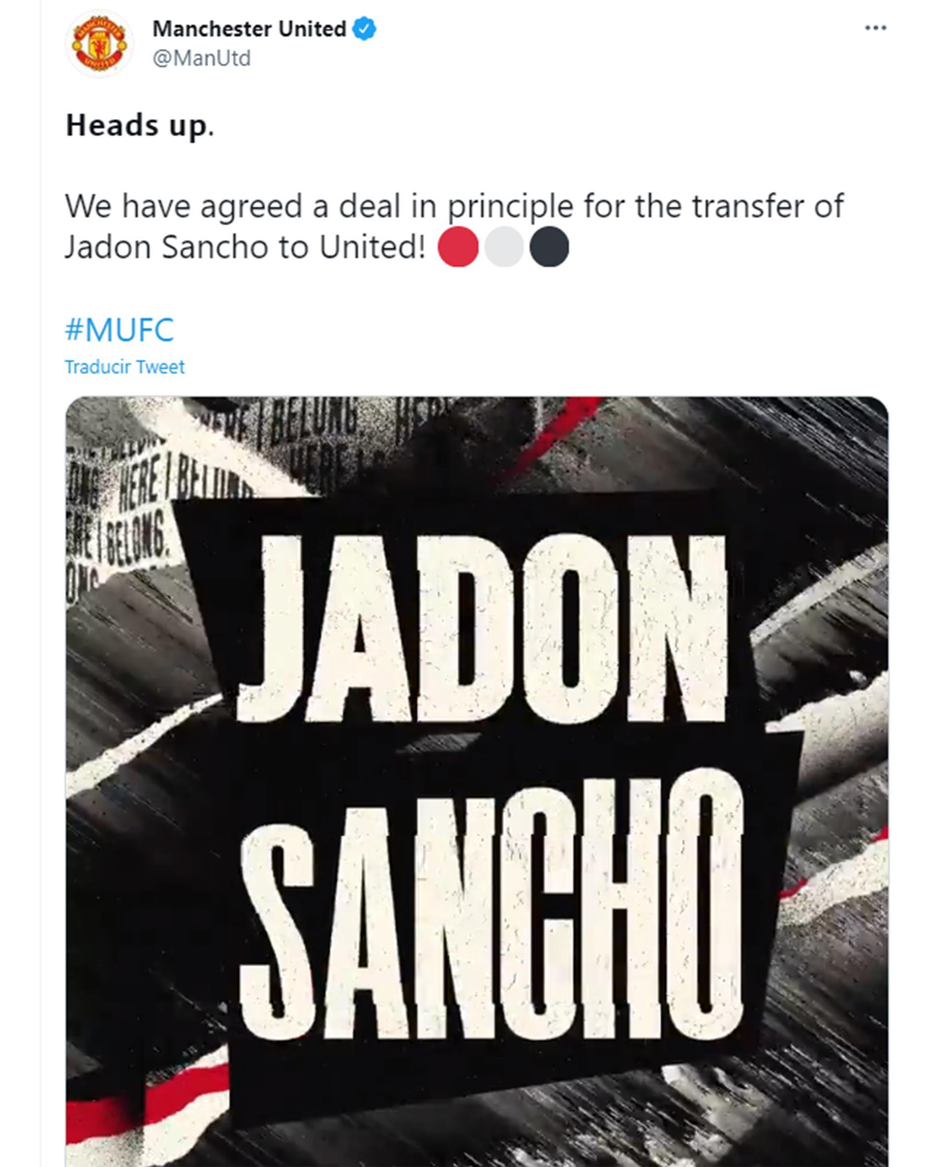 JADON SANCHO nuevo jugador del Manchester United