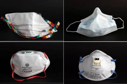 A combination of four images shows a surgical mask (top R), a self-made protective mask (top L), a FFP3 Respirator mask (bottom L) and a FFP2 Respirator mask (bottom R), as the spread of the coronavirus disease (COVID-19) continues in Hanau, Germany, April 6, 2020. REUTERS/Kai Pfaffenbach