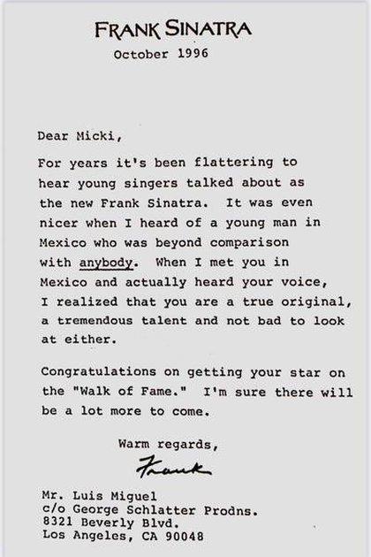 La carta que Frank Sinatra le escribió a Luis Miguel en su idioma original (Foto: Twitter @nicocastagninoj)