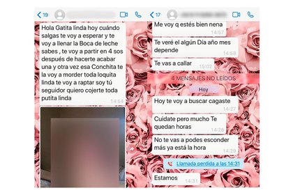 Obscenidad absoluta: los mensajes y fotos que Noelia recibió.