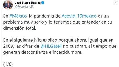 José Narro publicó un hilo en Twitter donde critica el papel de López-Gatell durante la epidemia (Foto: Twitter/@JoseNarroR)