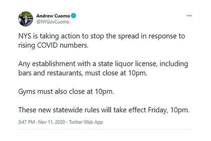 El anuncio de las nuevas medidas en la cuenta del Gobernador Andrew Cuomo