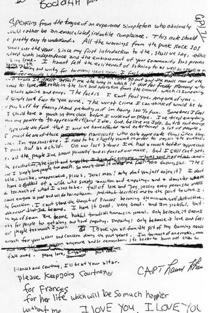 La carta de despedida de Kurt Cobian