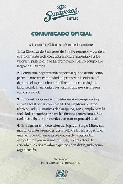 Comunicado de Saraperos de Saltillo (Foto: Saraperos de Saltillo)