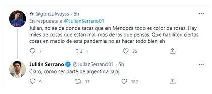 La respuesta jocosa de Julián Serrano ante un comentario de un seguidor (Foto: Twitter @julianserrano01)