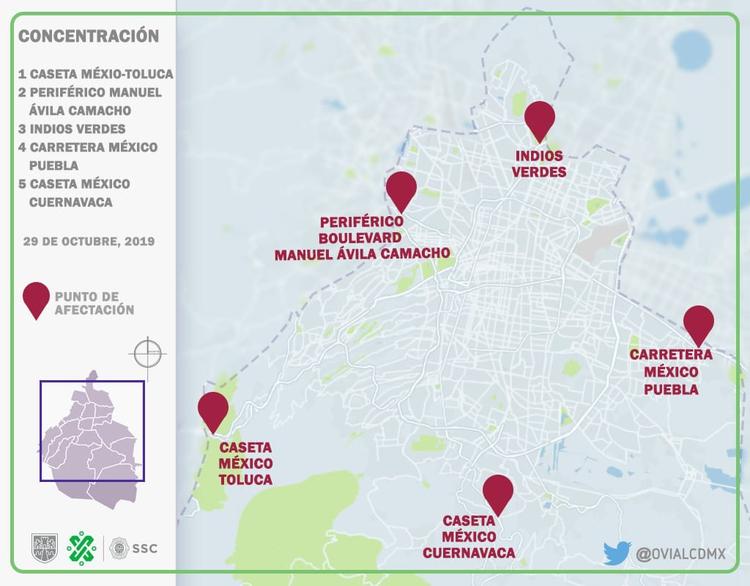 El mapa de los bloqueos que realizará la Amotac, difundido por la Secretaría de Seguridad Ciudadana de la CDMX (Foto: Twitter @OVIAL_SSCCDMX)
