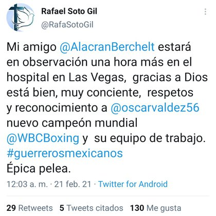 Posterioremnte, Soto Gil dio a conocer que los resultados habían sido positivos, y sería dado de alta en breves momentos (Foto: Twitter@/RafaSotoGil)