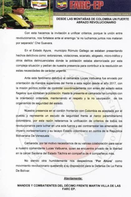 Las FARC le pidieron  a Cabello su colaboración para liberar al comandante Lucas