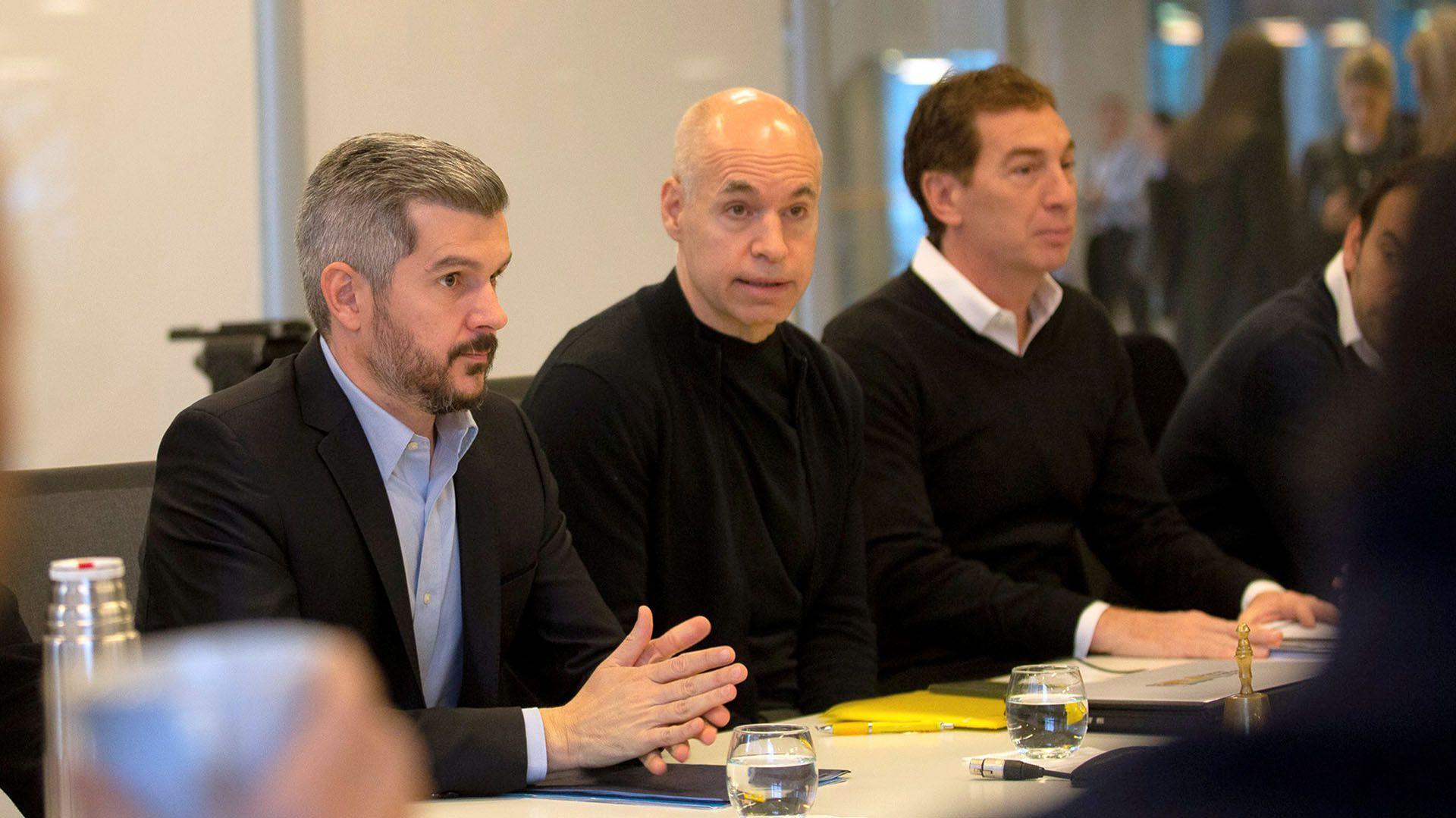 Horacio Rodríguez Larreta y Marcos Peña, junto a Diego Santilli (Prensa GCBA)