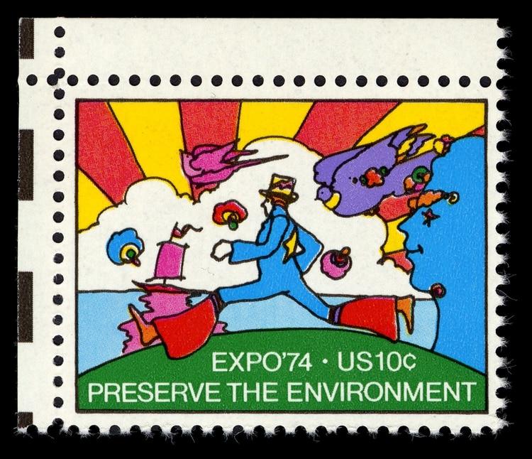 La obra de Max terminó hasta en una estampilla del correo de EEUU para conmemorar la Exposición de 1974