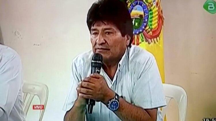 Evo Morales, durante la conferencia de prensa en la que anunció su renuncia a la presidencia