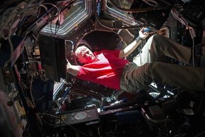 Kelly en la cúpula de la Estación Espacial. Su hermano Mark se quedó en Tierra para que la NASA pudiera estudiar físicamente los cambios en el espacio en personas con ADN idéntico (JSC/NASA)