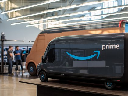 Models of the Rivian-built Amazon electric delivery vans are seen in this handout photo in Plymouth, Michigan, U.S., November 13, 2019.  Jordan Stead/Amazon/Handout via REUTERS  NO RESALES. NO ARCHIVES. THIS IMAGE HAS BEEN SUPPLIED BY A THIRD PARTY. MANDATORY CREDIT