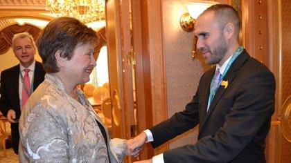 Martín Guzmán, ministro de Economía, y Kristalina Georgieva, directora gerente del FMI, durante la cena que compartieron en Roma