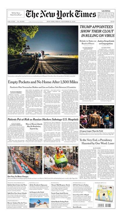 La portada de New York Times
