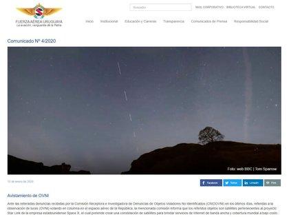 Comunicado de la Fuerza Aérea Uruguaya respecto a la caravana de satélites Stalink, de SpaceX