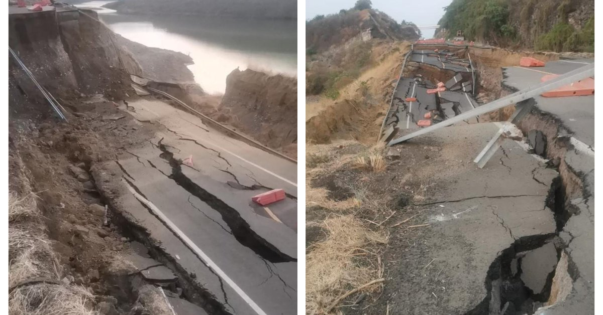 Photos of the collapse of a section of the Siglo XXI highway in Michoacán