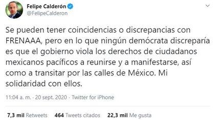 E mensaje de Calderón Hinojosa en redes generó comentarios en favor y en contra (Foto: Twitter /@FelipeCalderon)