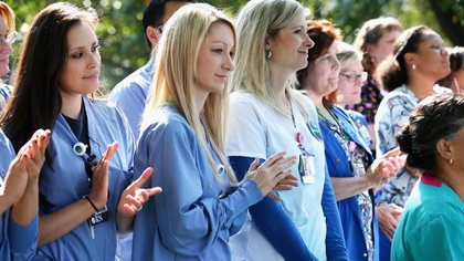 Enfermeras reunidas en un hospital de Dallas, Texas(Chip Somodevilla/Getty Images)