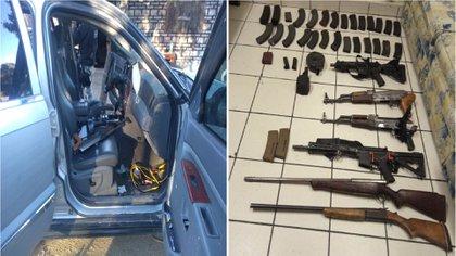 Se incautaron dos camionetas, seis armas largas, cuatro de ellas tipo fusil y dos tipo escopeta, así como 34 cargadores y 876 cartuchos útiles (Foto: Twitter@/GN_MEXICO_)