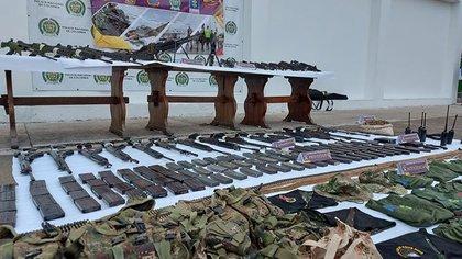 Armamento incautado al Clan del Golfo en Cúcuta, el 1 de marzo. Policía Nacional de Colombia